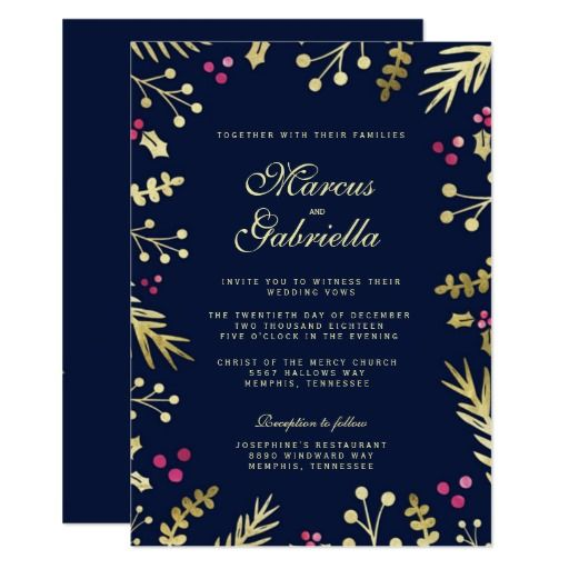 Navy blue gold foil holly berry christmas wedding for Gold foil wedding invitations canada
