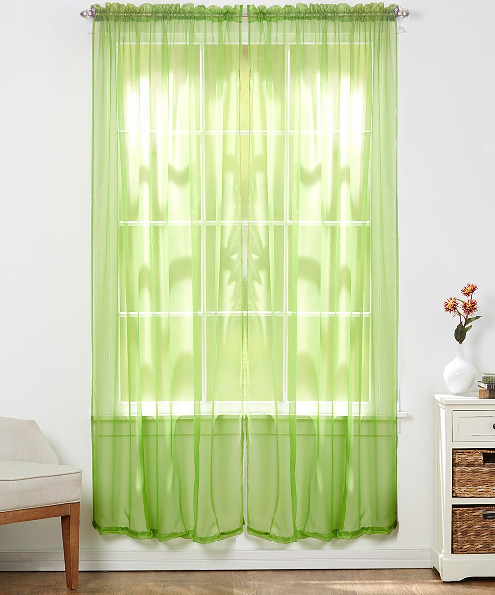 Lime Green Sheer Curtain Panel Set Of Two Green Sheer Curtains
