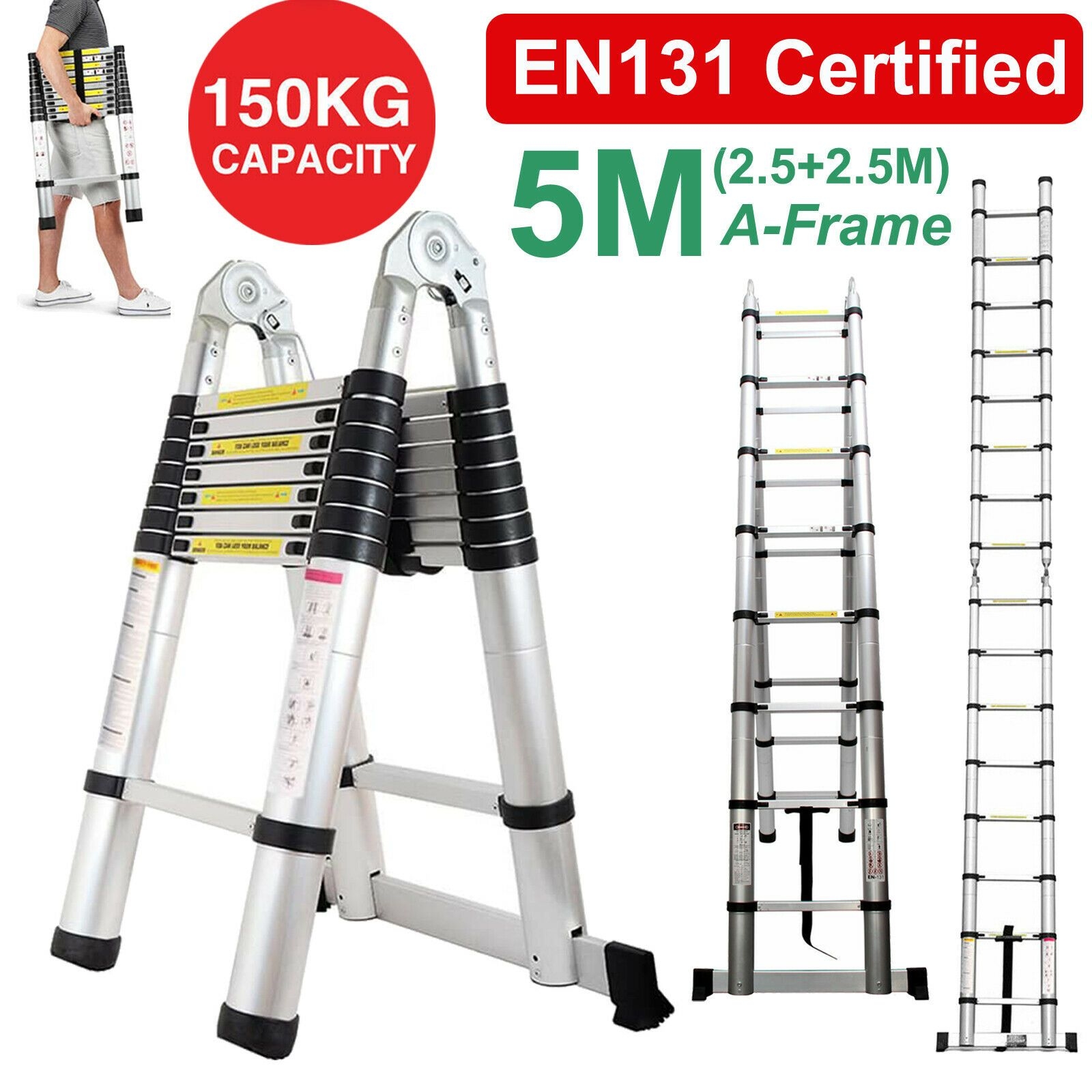 5m Folding Ladder 16 5ft Multi Purpose Telescopic Extension Aluminum Heavy Duty Ladder Decor Ladderdecor In 2020 Ladder Decor Ladder Decor