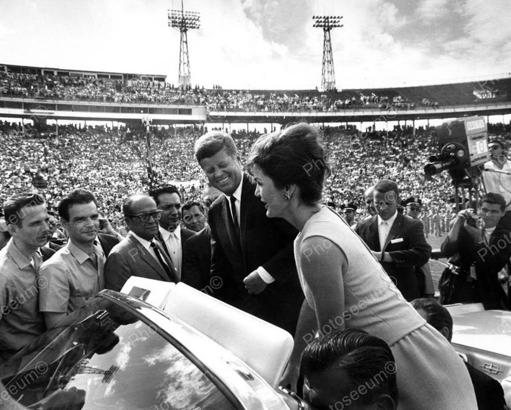 President JFK And Mrs Kennedy Vintage 8x10 Reprint Of Old Photo