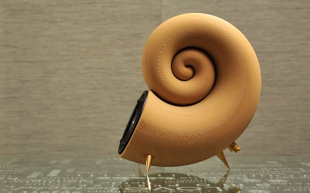 3D printed speaker from wood designed by Akemake. Maybe