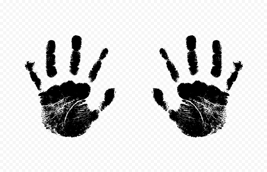 Hd Black Two Realistic Handprint Png Png Print Realistic