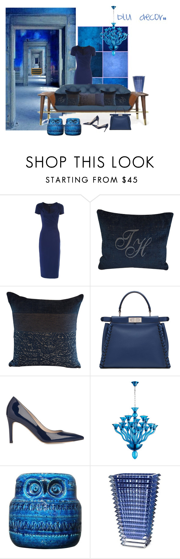 """blu decor"" by home-23b on Polyvore featuring interior, interiors, interior design, Casa, home decor, interior decorating, Norma Kamali, Fendi, L.K.Bennett e Bitossi"