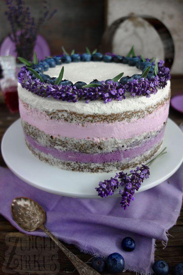 Naked Cake mit Lavendel und Heidelbeeren – Zungenzirkus
