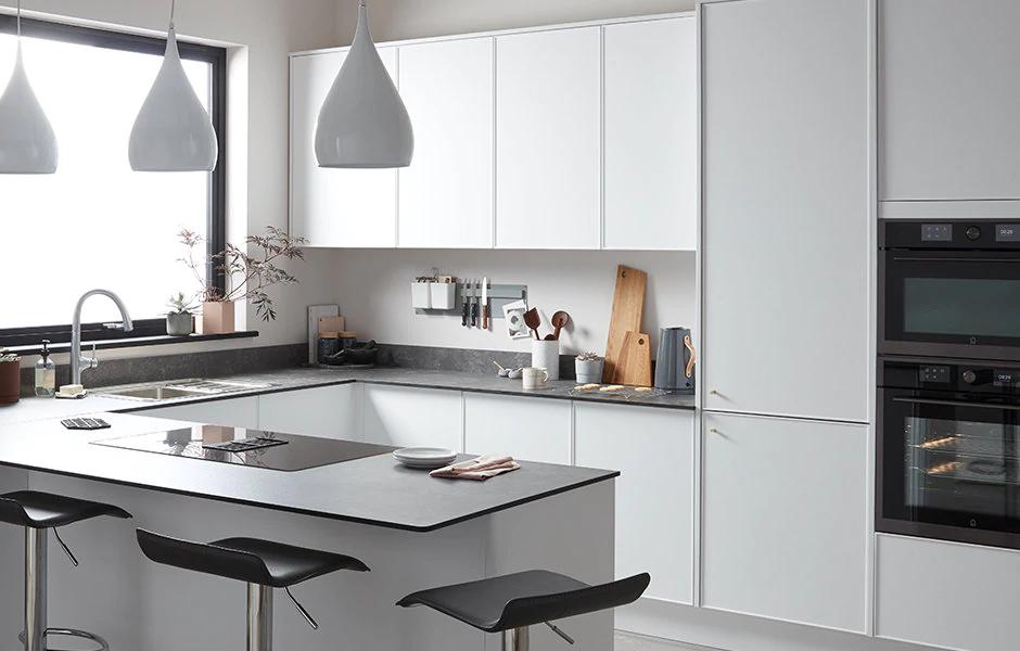Pasilla matt white thin frame Fitted kitchens DIY at B