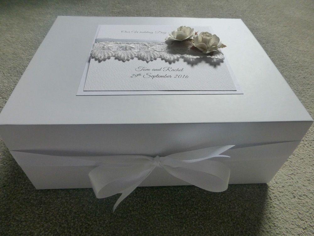Extra Large Wedding Keepsake/Memory Box Personalised Ivory Rose ...