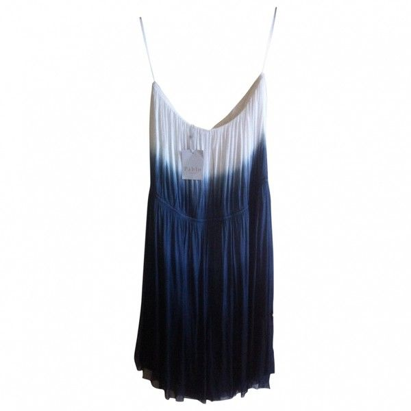 Pre-owned Gerard Darel Dresses ($76) ❤ liked on Polyvore featuring dresses, tiedye dresses, silk summer dresses, white bustier dress, silk dress and white silk dress