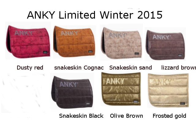Anky Limited Winter 2015 Dusty Red Snakeskin Cognac Lizzard Brown Snakeskin Black Olive Brown Frosted Gold Saddle Pads Lizzard Snake Skin