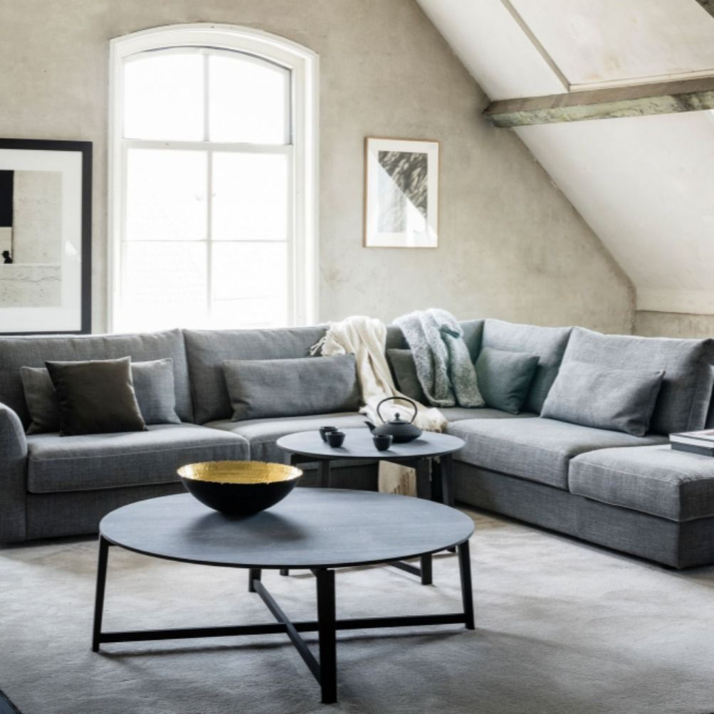 Hoekbank Grijs Bruin.Loungesofa Loungebank Sofa Couch Bank Corner Hoekbank