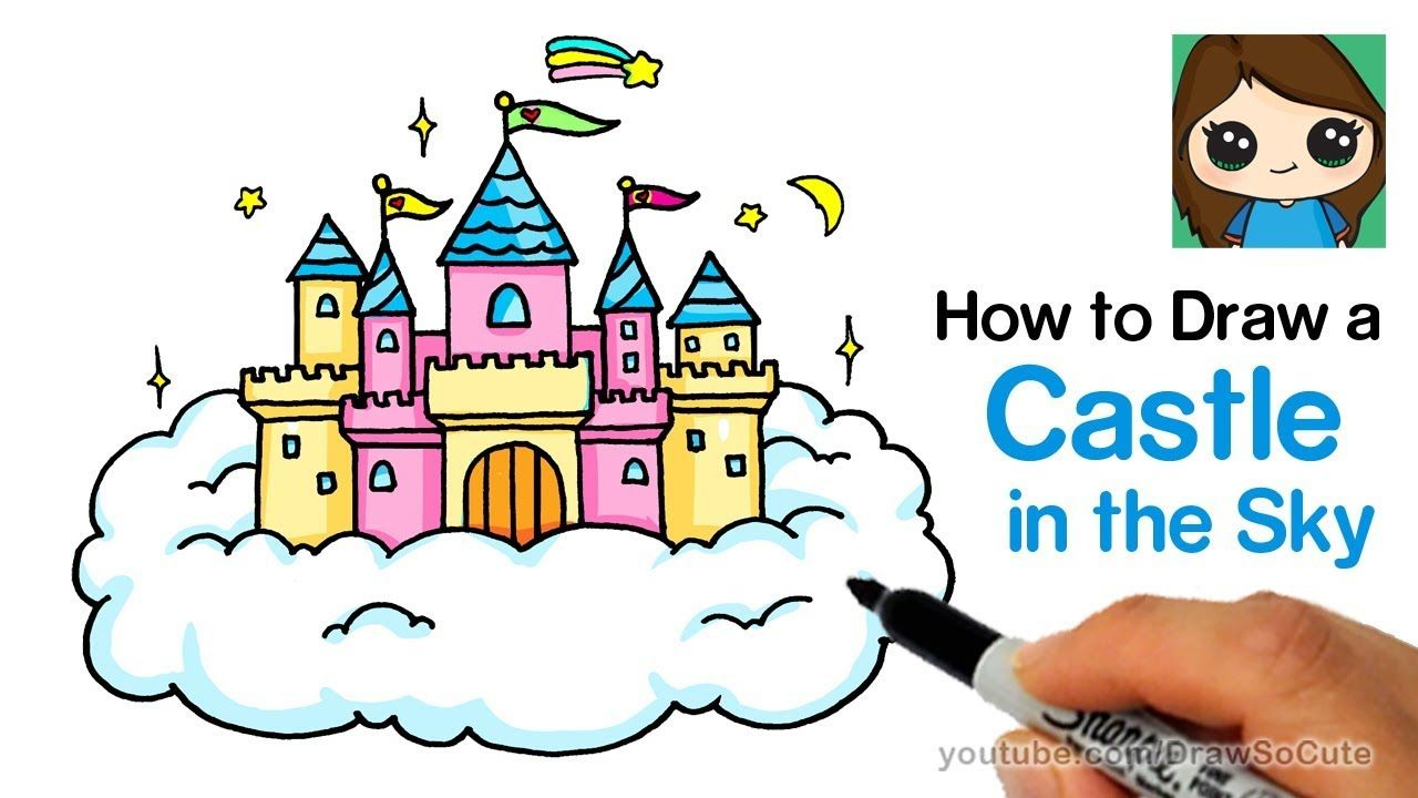 How To Draw A Castle In The Sky Easy Disney Castle Drawing Cute Disney Drawings Castle In The Sky