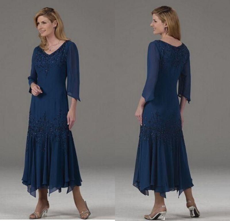 Hot Sale Navy Blue Mother Of The Bride Dresses Long Sleeves