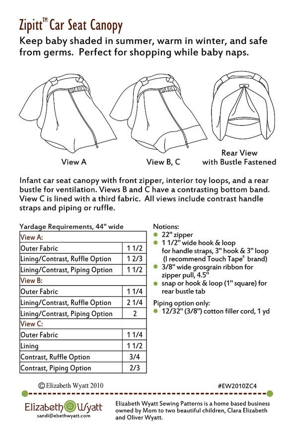 Zipitt Car Seat Canopy Sewing Pattern Fits All Baby Car Seats