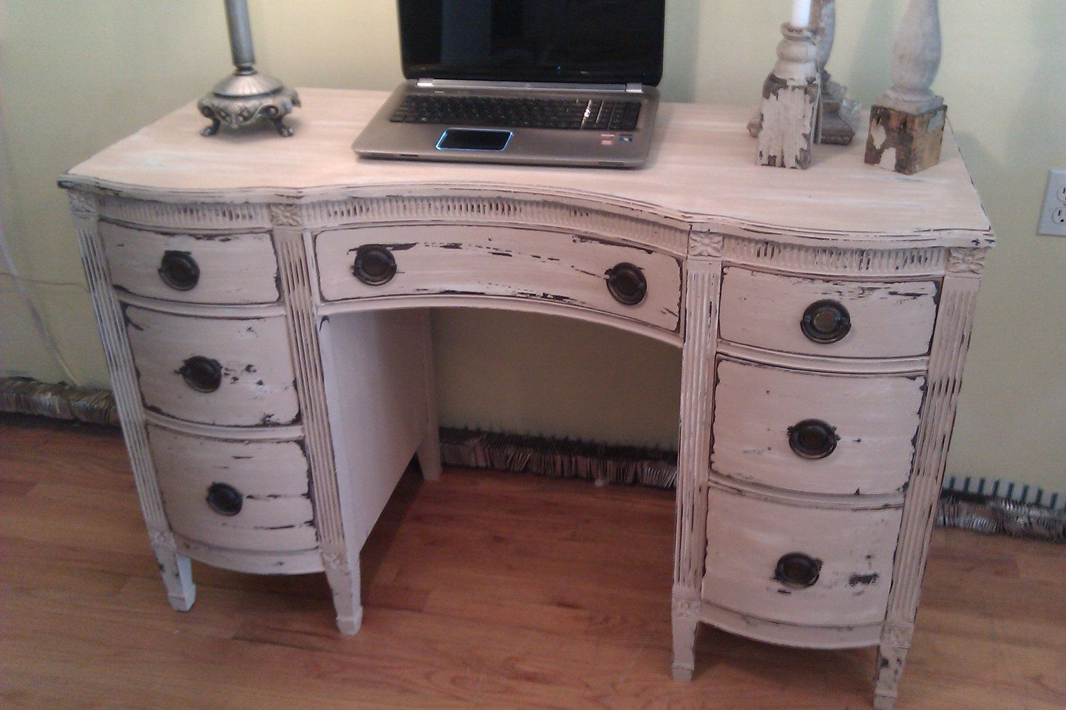 Vintage desk vanity shabby distressed chic office computer tan white