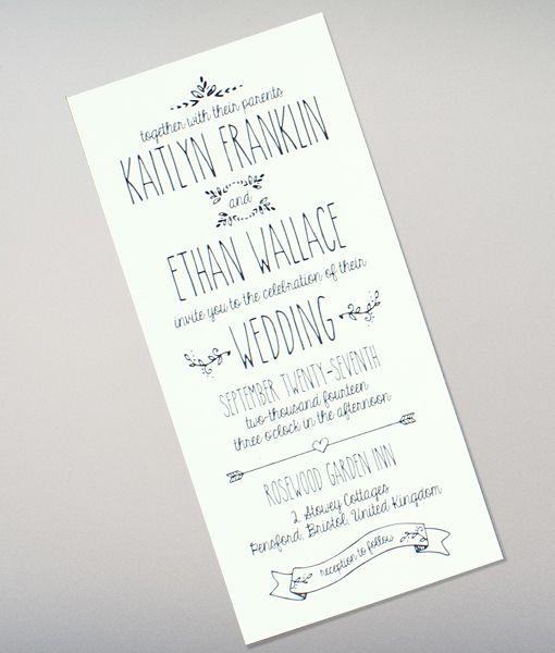 doodle love tall wedding invitation diy wedding invitation