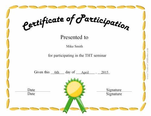 Certificate Of Participation Certificate Of Participation Template Certificate Templates Perfect Attendance Certificate