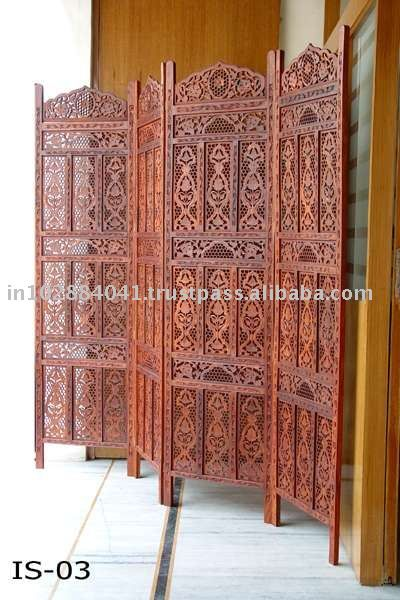 Fragrance Of India Wooden Folding Room Screen Panel Divider