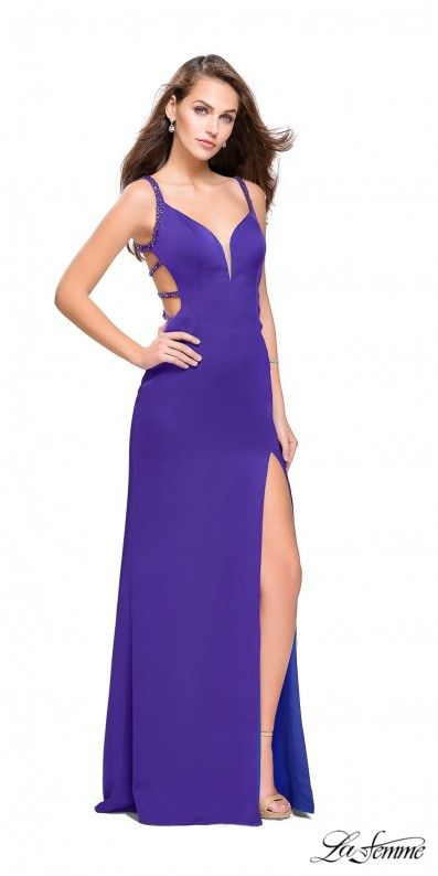 28fba1aae14f Be alluring and sexy in the Sleeveless Beaded Strappy Back Satin Evening  Dress by La Femme. Features a sweetheart bodice with metallic beaded  straps, ...