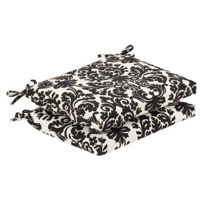 2-Piece Outdoor Seat Pad/Dining/Bistro Cushion Set - Black/White - 2-Piece Outdoor Seat Pad/Dining/Bistro Cushion Set - Black/White