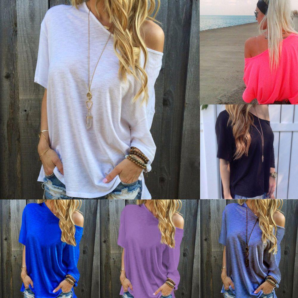 69676e5d6 Um Ombro Feminina Verão Senhoras folgada casual blusa manga curta camiseta