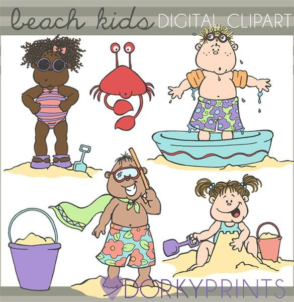 Beach Kids Clipart - pool party, crabs, sand castle clipart