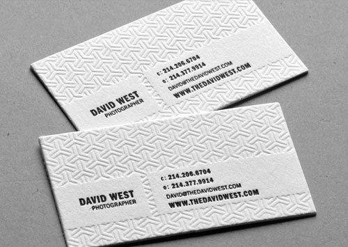 Blind Debossed Letterpress Biz Cards