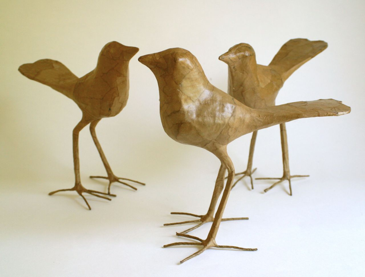 Paper Bird Sculpture Brown Birds Craft Paper Birds Paper Papier Mache