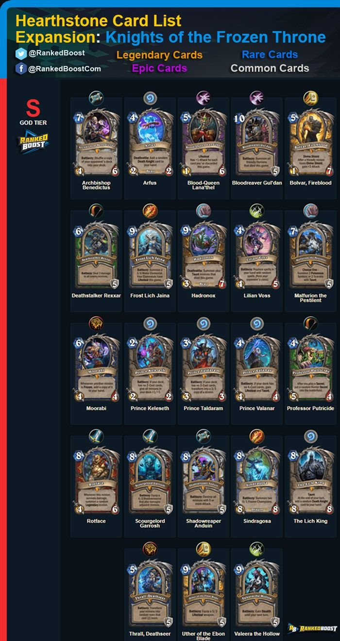 hearthstone knights of the frozen throne card list. new expansion