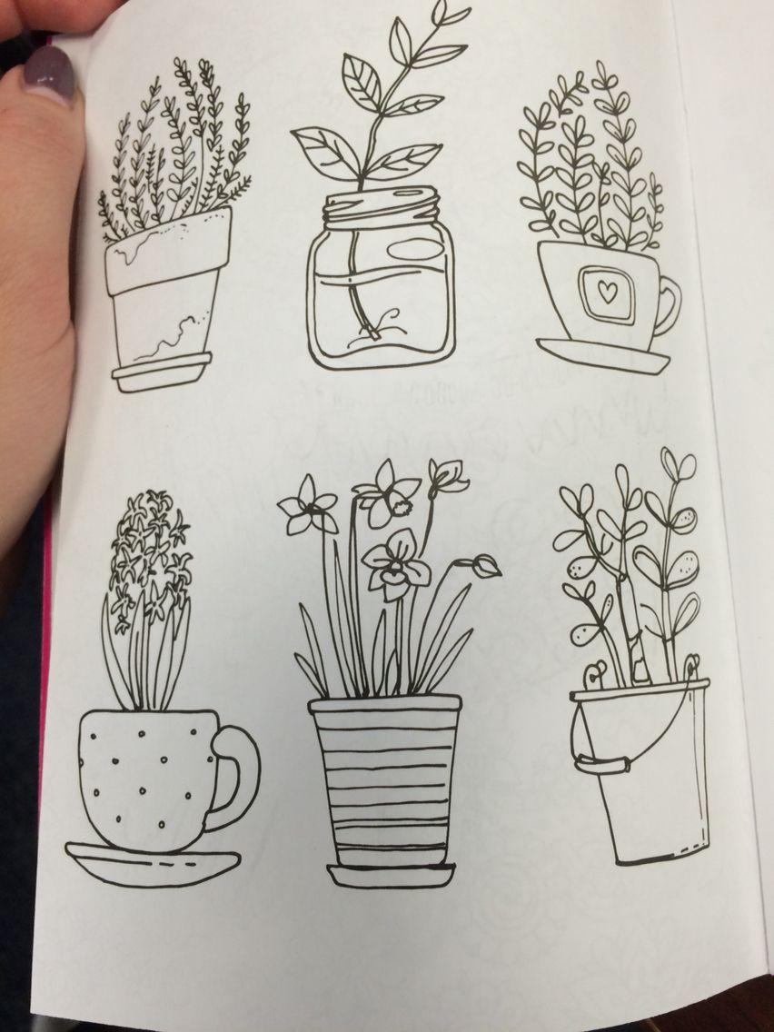 Flower pot doodles … Flower doodles, Doodle drawings