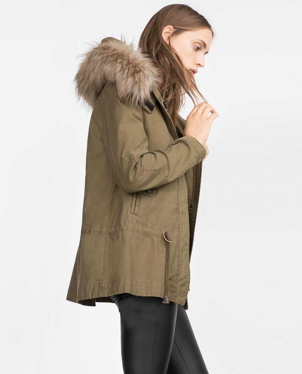 parka with fleece lining from zara parka femme hiver manteau femme zara