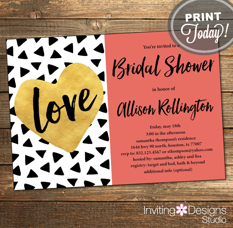 Geometric Bridal Shower Invitation, Wedding Shower, Triangles ...