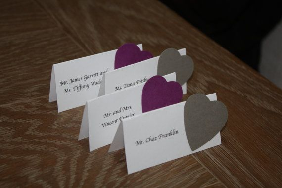 Place Card Print Names On Neutral Cardstock Paper Aligned Left Punch Out Hearts