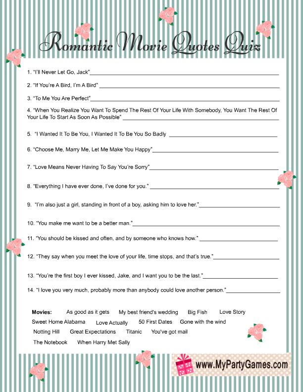 Shabby Chic Romantic Movie Quotes Quiz Game Card Free Printable Inspiration Quotes Quiz