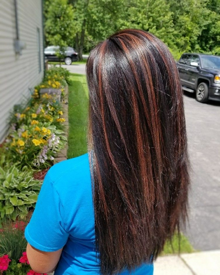 Brown Base Level 3 With Copper Red Lowlights 4rc Hair Color Long