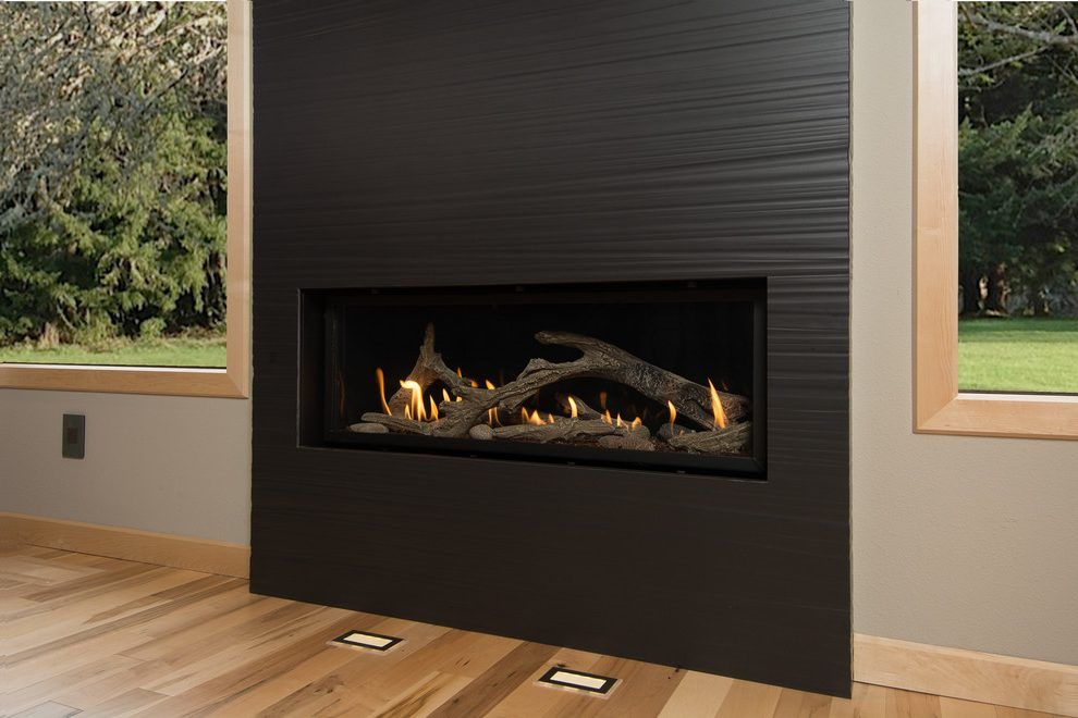 Portland Contemporary Fireplace Surrounds With Satin Mosaic Tiles Kitchen  And Black Tile