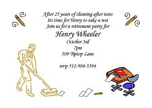Custodian Retirement - Retirement Party Invitations ...