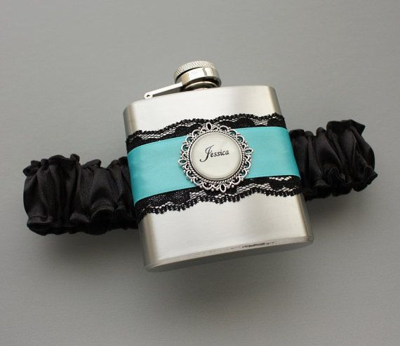 Wedding GARTER FLASK Black Diamond Blue Lace Garter With Flask Custom Bride Bridesmaids Bachelorette Gift