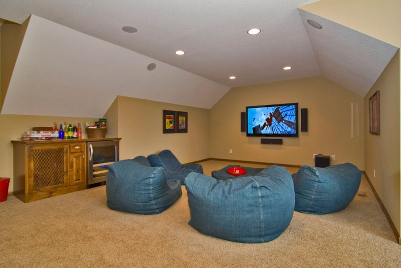 Fine Custom Home Theater With Denim Bean Bag Table Chairs Unemploymentrelief Wooden Chair Designs For Living Room Unemploymentrelieforg