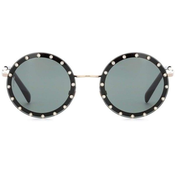 74856ca535 Valentino Crystal-Embellished Round Sunglasses ( 350) ❤ liked on Polyvore  featuring accessories