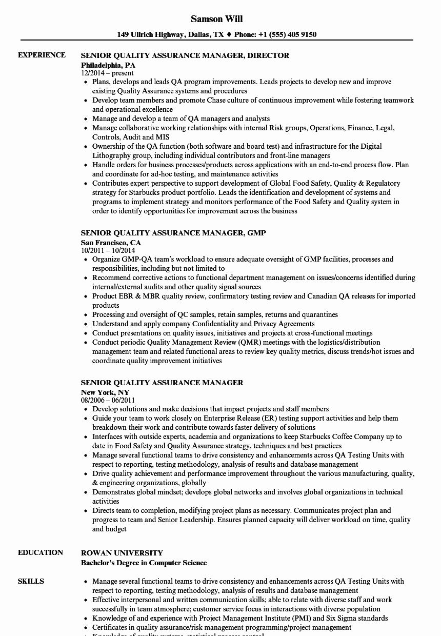 Quality assurance Resume Examples Beautiful Senior Quality