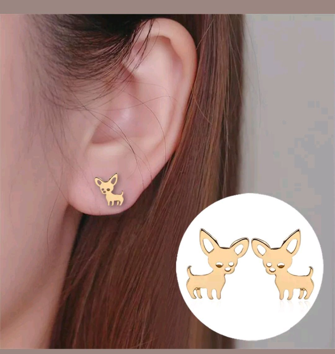 Chihuahua Stud Earrings Small Tiny Chihuahua Dog Stud Earrings Silver Gold Rose