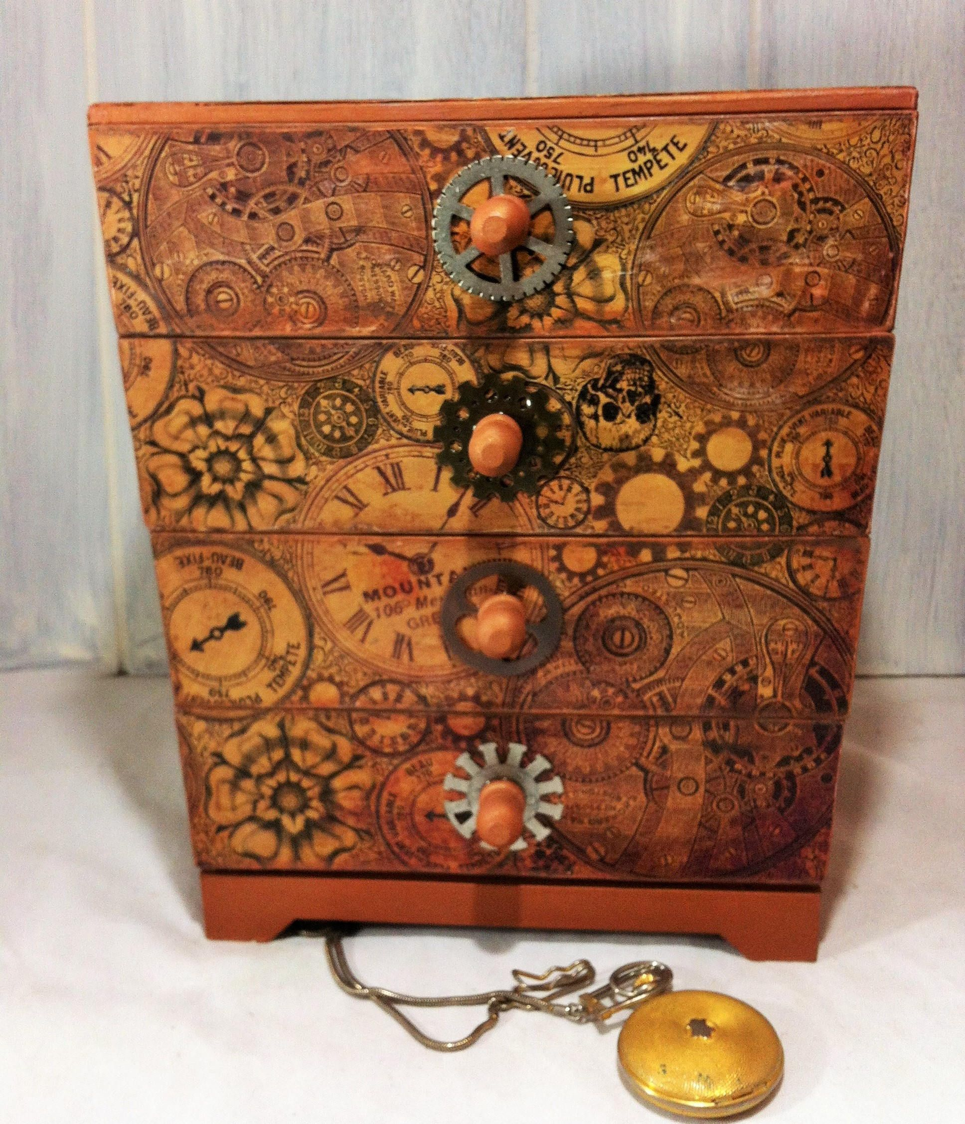 Vintage Clock Gears Jewelry Box Steampunk Jewelry Keepsake Box