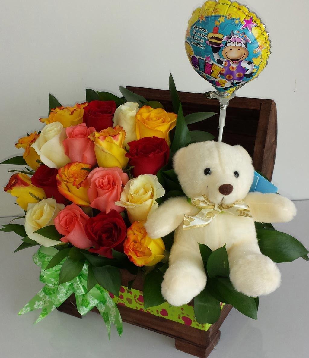 Baúl Cumpleaños Flores Arreglos De Dulces Globos De