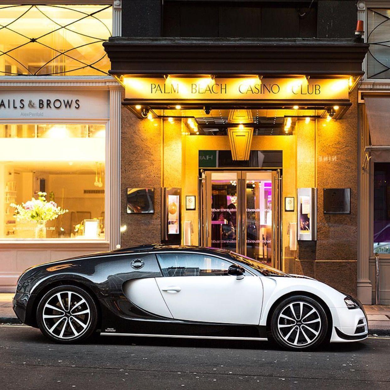 Custom Bugatti Veyron Super Rear View: Mansory Vivere Painted In White W/ Custom Weave Gray