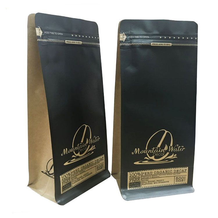 Kraft Paper Foil Lined Square Bottom Coffee Pouch Coffee Bag Coffee Packaging Manufacturers