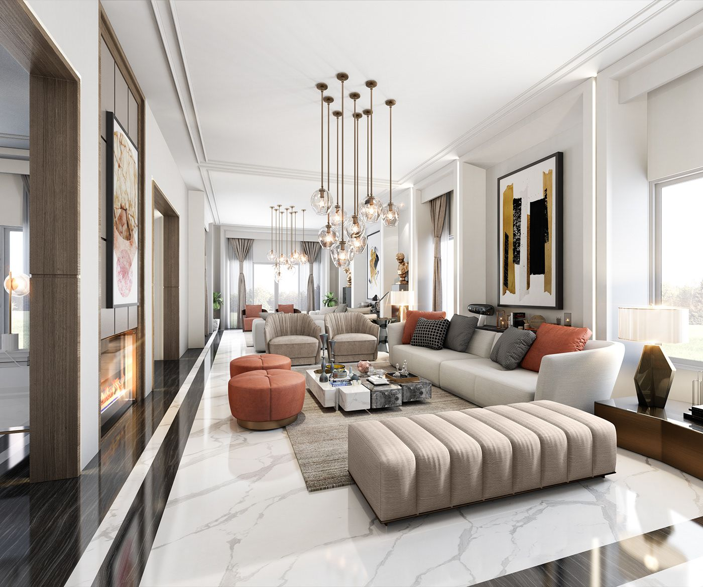 G F Palm Hills Reception On Behance Living Room Inspiration Interior Design Living Room Contemporary Living Room Design living room contemporary