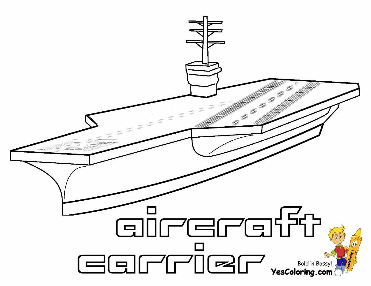 Print Out This Aircraft Carrier Coloring Page! \