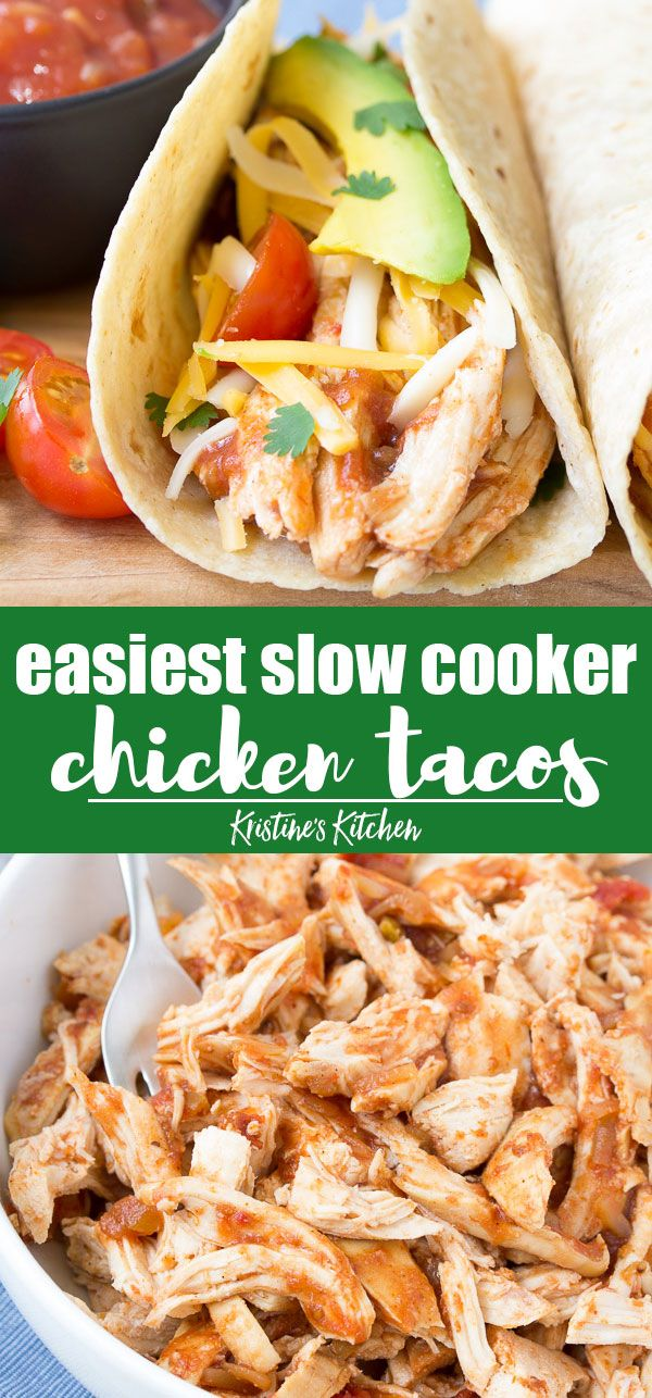 The EASIEST 3 Ingredient Crockpot Shredded Chicken Tacos! You won't believe how easy this recipe is! It's one of our favorite healthy slow cooker recipes. This Mexican salsa shredded chicken is great to use in so many recipes, not just tacos! #chickenrecipes #chickentacos #crockpotrecipes #slowcookerrecipes #healthycrockpotrecipes