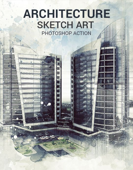 Architecture Sketch Art Photoshop Action Atn Action File Abr