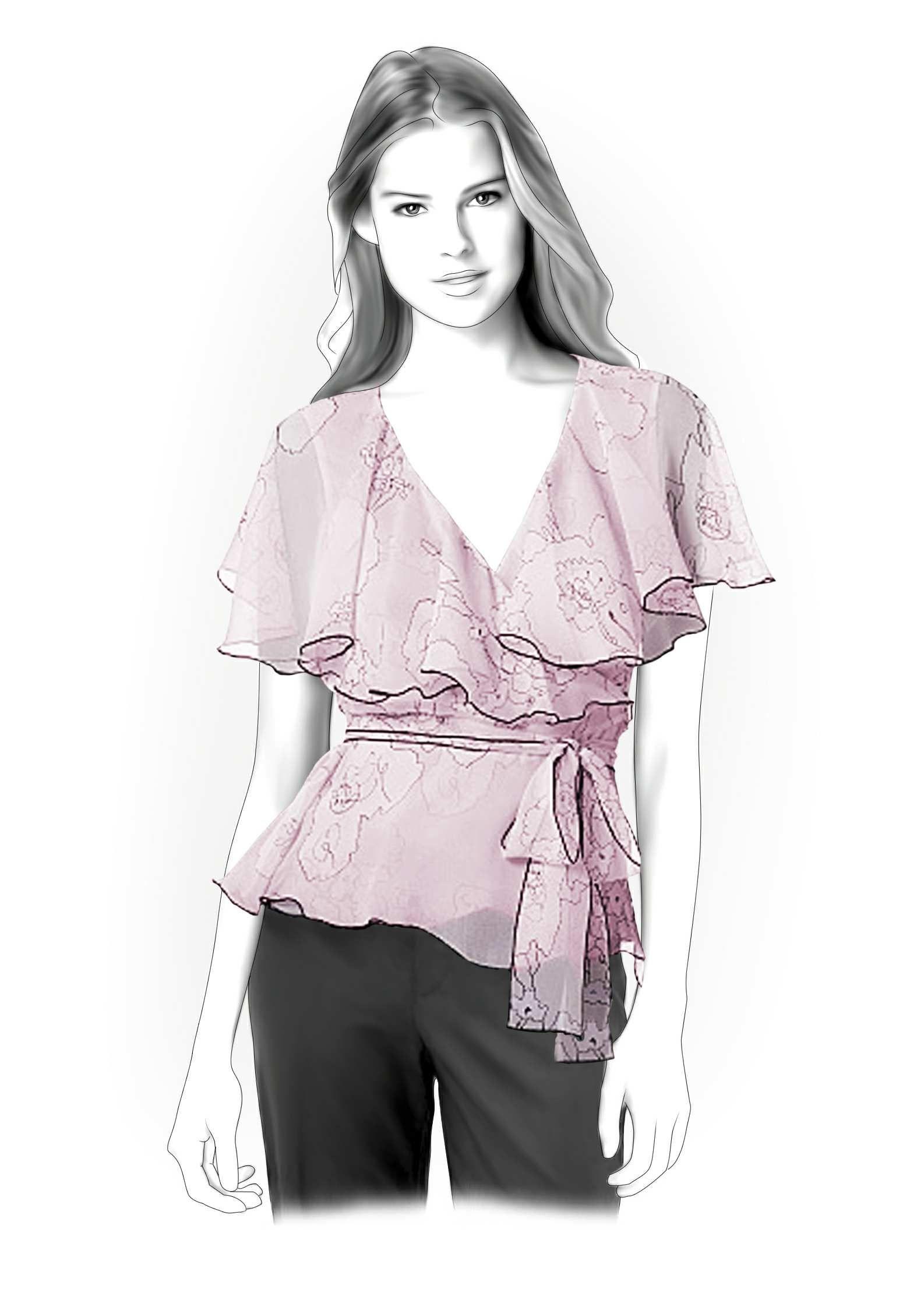Chiffon Blouse - Sewing Pattern #4238. Made-to-measure sewing ...