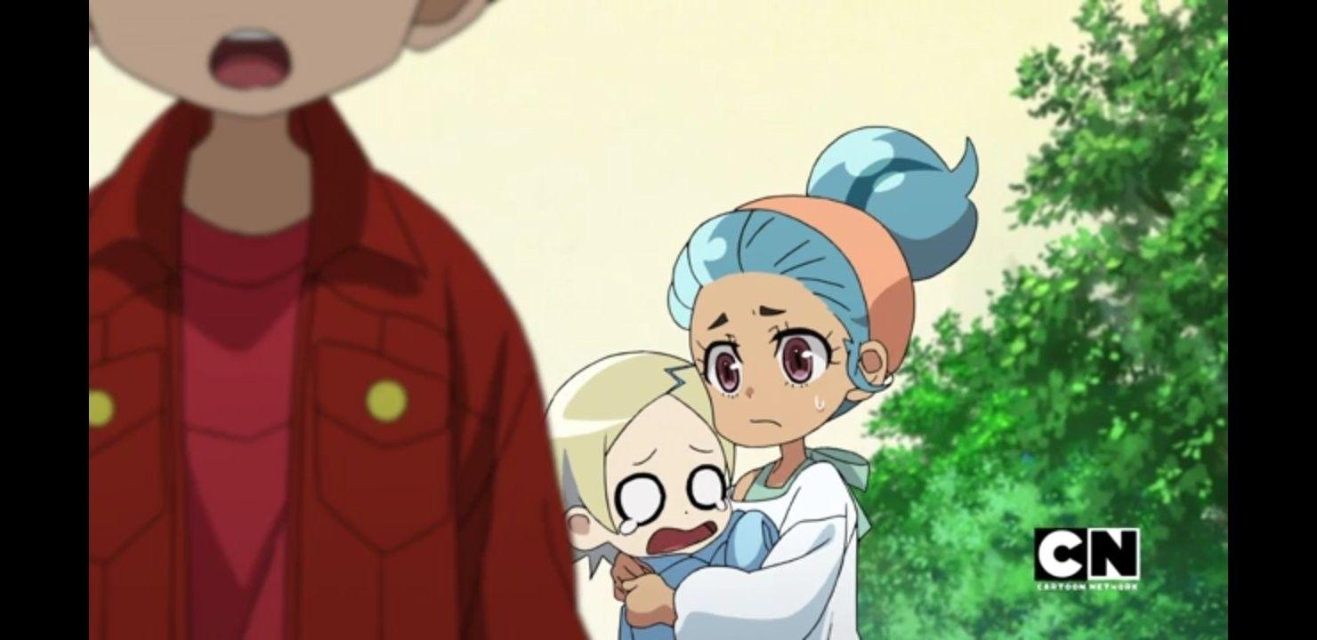 Younger Shun And Lia Anime Battle Cartoon